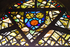 Stained glass window. Background - church Royalty Free Stock Image