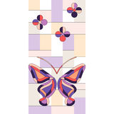 Stained glass window background. Vector butterfly stained glass window background Stock Photos