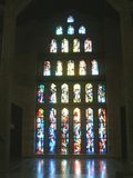 Stained glass window of The Basilica of the Annunciation in Nazareth, Israel. Royalty Free Stock Images