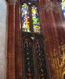 Stained-glass window in Basilica Frari in Venice. VENICE, ITALY - MARCH 30, 2017: Stained-glass window in Basilica di santa maria gloriosa dei frari The Frari stock photo