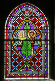 Stained glass window of the Basilica of St-Saveur in Rocamadour, France Royalty Free Stock Photography