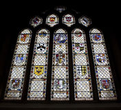 Stained Glass Window, Bath Abbey, United Kingdom. Stained glass window in Bath Abbey, Somerset, UK. It depicts different coat of arms Royalty Free Stock Photography
