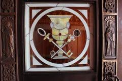 Stained-glass window. Beautiful art work door in the temple . stained-glass window Holy Grail Stock Photo