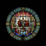 Stained-glass window in Benedictine Abbey of Santa Maria de Montserrat founded in 1025. stock photo
