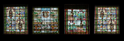 Stained glass window.  Benedictine Palace Museum In Fecamp Stock Images