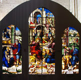 Stained glass window with biblical scenes Royalty Free Stock Photos