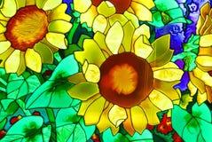 Stained-glass window. Stained glass window. Blossoming garden Stock Image