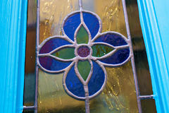 Stained-glass window of blue flower. Details of the stained-glass window of blue flower Royalty Free Stock Photography