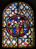Stained glass window at Canterbury Cathedral. Medieval 13th century stained glass window at Canterbury Cathedral, England Stock Photos