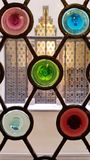 A stained glass window of Casa Amatller in Barcelona, Catalonial stock photos
