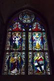 Stained-glass window in castle of the Teutonic Order in Malbork Stock Photos