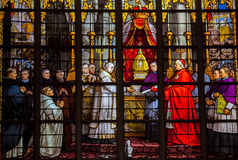 Stained glass. Window in the cathedral of Brussels, Belgium royalty free stock photography