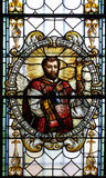 Stained glass window in Cathedral of St Nicholas in Novo Mesto, Slovenia Royalty Free Stock Image