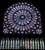Stained glass window of the Cathedrale Notre Dame Stock Images
