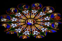Stained-glass window in catholic cathedral Royalty Free Stock Photo