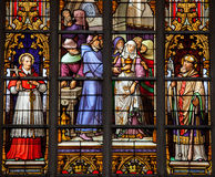 Stained glass window of Catholic Saints in Brussels Cathedral Stock Image