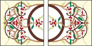 Stained glass window at the ceiling. Square ornament colorfull floral symmetric composition. stock illustration