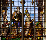 Stained glass window of Charles V and Isabella of Portugal Stock Photos