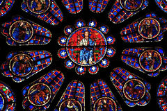 Stained Glass Window, Chartres Cathedral Royalty Free Stock Photos