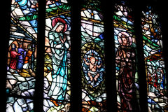 Stained Glass Window in a Church. Depicting Mary, Joseph and baby Jesus Stock Photos