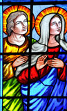 Stained glass window of church. Stained glass window of Catholic church, about the Jesus story from Bible Stock Images