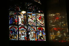 Stained glass window in church Royalty Free Stock Photos
