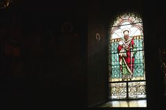 Stained glass window in a church, copy space stock photos