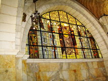 Stained-glass window at Church of the Flagellation and the secon Royalty Free Stock Image