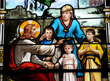 Stained glass window in the church of Houlgate in Normandy Stock Images
