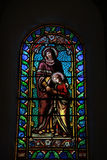 Stained glass window, church in Lacoste Royalty Free Stock Photos