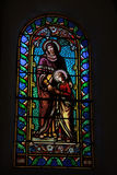 Stained glass window, church in Lacoste Stock Photos