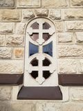 Stained-glass window in the church. Lviv. Urkaine. Catholic. Znesinnia. Achitecture stock photography