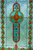 Stained glass window of a church in Russia stock photo