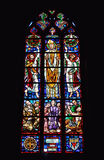 Stained glass window in church of Saint Gery Royalty Free Stock Image