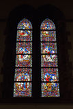 Stained glass window in church Saint Walburga Stock Photo