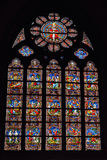 Stained glass window in church Saint Walburga Stock Images