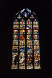 Stained glass window in church Saint Walburga, Stock Photo