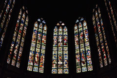 Stained glass window in church Saint Walburga Stock Photos