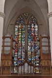 Stained glass window in church Saint Walburga Royalty Free Stock Photography