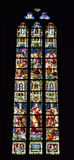 Stained glass window in church Saint Walburga, Royalty Free Stock Images