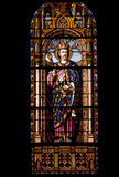 Stained glass window in a Madrid Church Stock Photo