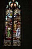Stained glass window in Church of St Etienne. Chinon Royalty Free Stock Photo
