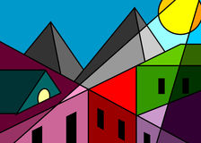 Stained-glass window city. Stained-glass window, roofs of houses and mountain modern style cubism vector illustration