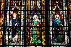 Stained glass window in the collegiate church of Mantes La Jolie Stock Image