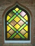 Stained glass window of colored glass.  Stock Photo