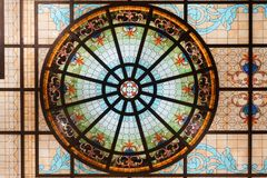 Stained glass ceiling,colorful glass window Concentric circle pattern stock photography