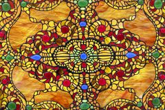 Stained glass window with colorful oriental ornament royalty free stock photo