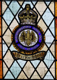 Stained glass window commemorating British Telecomms Flying Unit of WW2 Royalty Free Stock Images
