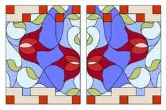 Stained glass window. Composition of stylized tulips, leaves Stock Photos
