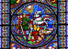 Stained glass window conversion of Saint Paul. Falling of horse stock images